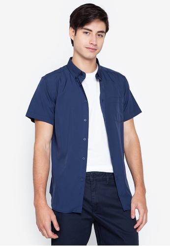 Penshoppe navy Easy Iron Short Sleeve Shirt DDCA6AA26D0C7EGS_1
