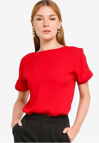 ZALORA WORK red Button Sleeve Detail Blouse D5029AAC997683GS_1