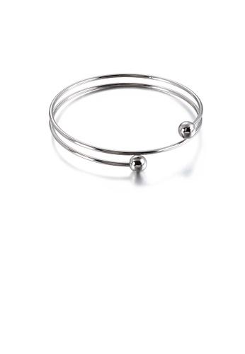 Glamorousky 銀色 簡約時尚螺旋幾何圓形316L鋼手鐲 DFF85AC62477D8GS_1