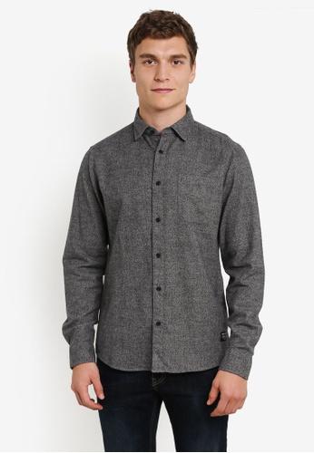 !Solid grey Kaedyn Pocketed Flannel Shirt SO701AA0S2USMY_1