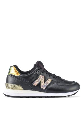 New Balance black 574 Classic Glitter Punk Lifestyle Sneakers NE323SH0SW9VMY_1