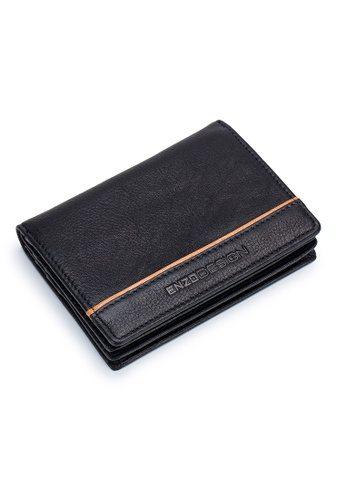 ENZODESIGN black ENZODESIGN Full Grain Cow Nappa Leather Card Holder With Center Divider 707B3ACE25D006GS_1