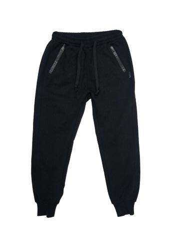L.I.M.I.T.E black Printed Zipper Sweat Pants 3AC7CAAD986642GS_1