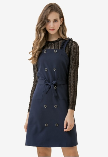 Eyescream blue Double Breasted Pinafore Dress CE668AA3FE1514GS_1