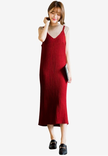 Tokichoi red Knit Dress with Shoulder Straps 428F2AAD40959CGS_1