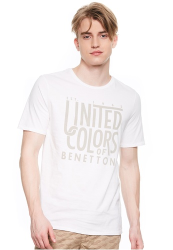 United Colors of Benetton white Printed T-shirt 72823AA2C3256CGS_1