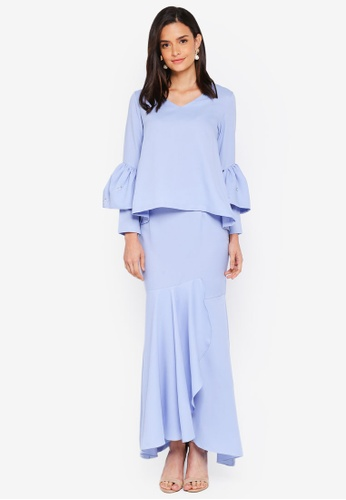 Lubna blue Double Sleeves Overlap Skirt FB1E6AA6816EEFGS_1
