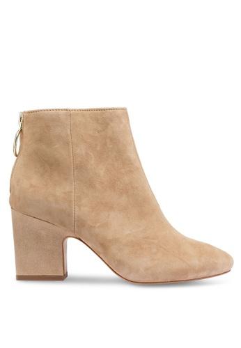 Mango 灰色 拉鍊皮革踝靴 1F309SH7DA68C4GS_1