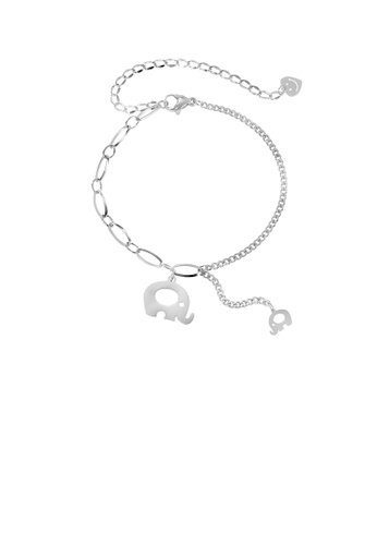 Glamorousky silver Simple and Lovely Elephant 316L Stainless Steel Bracelet 9C565ACCBD0328GS_1