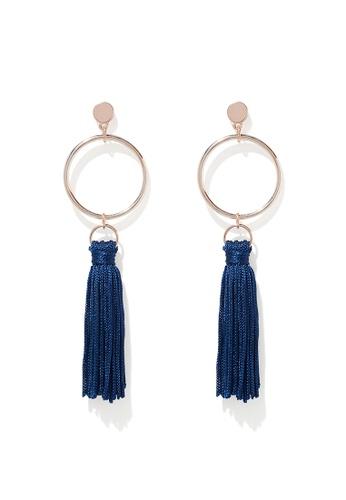 Forever New blue Celeste Geo Tassel Drop Earrings DAB75AC9FB2A4DGS_1