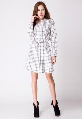 Les Premieres white Nicole Checker Shirt Dress AA649AA2042F0DGS_1
