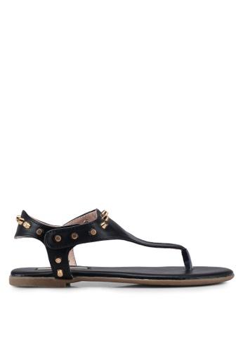 Nose black Dara Studded Leather T-Strap Sandals 37DE6SH5458231GS_1