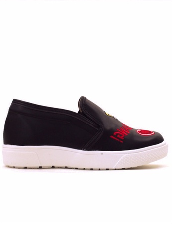 Crystal Korea Fashion black Korean New Lip Lipstick Embroidered Slip-ons CR681SH2V215HK_1