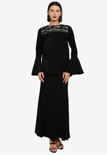 Zalia 黑色 Flare Sleeve Lace Shoulder Kurung A83DDAA1FFB72FGS_1