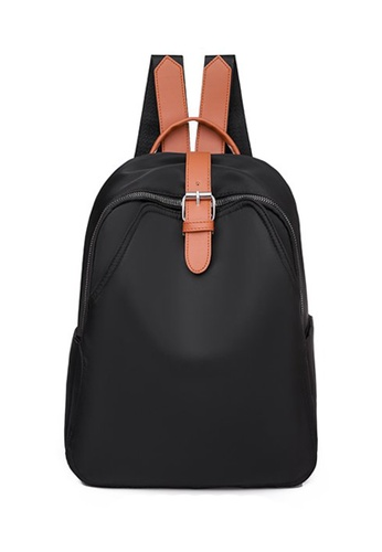 Lara black Women's Leisure Oxford Cloth Zipper Backpack - Black and Brown E623EACDF423E4GS_1