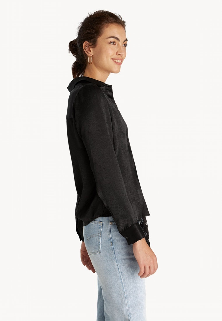 Black Classic Black Button Shirt Up Fitted Pomelo OAxBfq