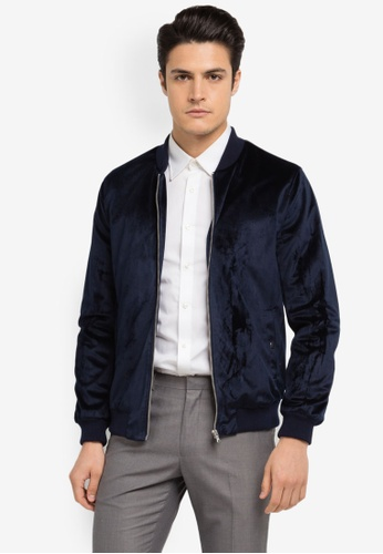 Burton Menswear London blue and navy Velvet Bomber Jacket BU964AA0SWLQMY_1