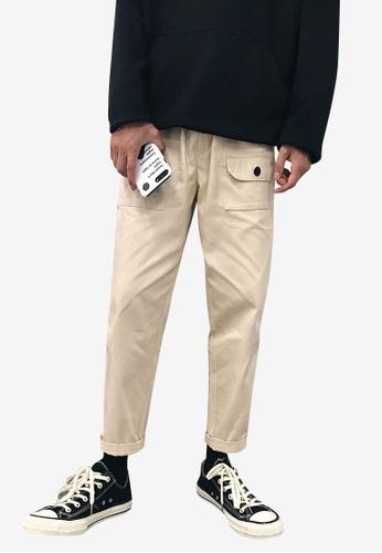 hk-ehunter beige Men Ankle-Length Pants 86451AAA676B72GS_1
