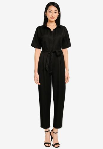 ZALORA BASICS black Double Pocket Jumpsuit 6753FAAFA2EEF6GS_1