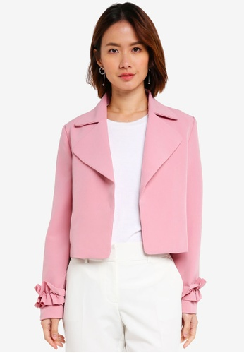 ZALORA pink Cropped Jacket With Ruffle Trim A4413AAD5D3B76GS_1