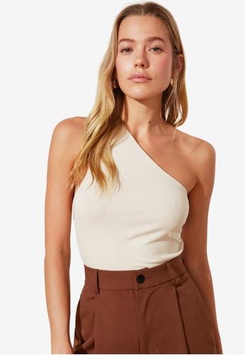 Trendyol beige Basic One Shoulder Knit Top BC8D9AA2568658GS_1