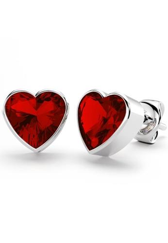 925 Signature 銀色 925 SIGNATURE Heart Bezel Studs Red CB080AC8BCF9FFGS_1