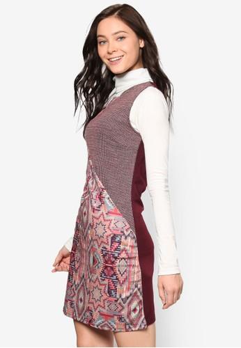 Mandri 印花拼接無袖連身裙, 服飾,zalora 包包評價 洋裝