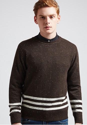 質感焦點。雪花紗結。混色圓領針織毛衣03629-咖啡,esprit sg 服飾, 外套
