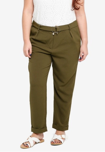 ELVI brown Plus Size The Ama Peg Trousers With Pearl Trim 11D6EAAB73AF1AGS_1