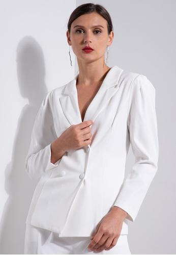 ZALORA OCCASION white Puff Sleeve Blazer 470E2AA5056F06GS_1