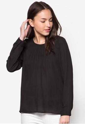蕾絲拼貼褶飾長袖上esprit手錶專櫃衣, 服飾, 服飾