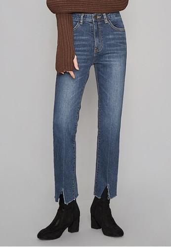 開叉細節直筒zalora 心得牛仔褲, 服飾, 多色牛仔褲