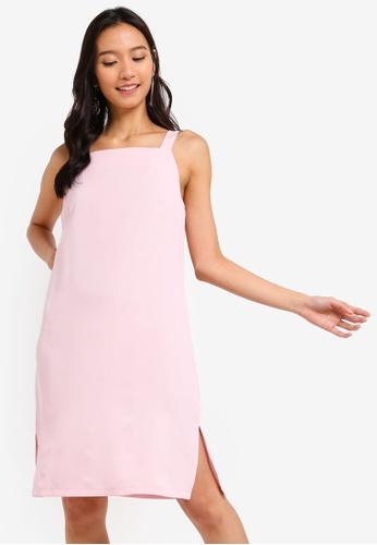 ZALORA 粉紅色 Square Neck Shift Dress 7FF2BAA6AA4067GS_1