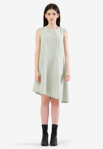 SALIENT LABEL green Carson Asymmetric Sleeveless Dress - Laurel 8A2A5AAEE7D877GS_1