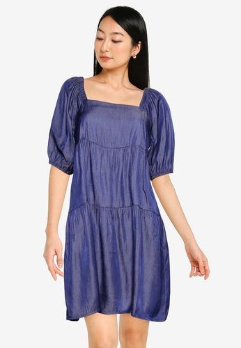ZALORA BASICS blue Square Neck Chambray Dress B4778AAD529640GS_1