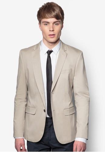 棉質雙鈕西裝外套, 服飾, zalora 台灣門市休閒西裝外套