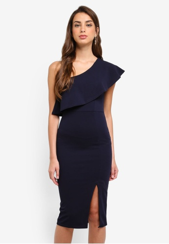 MISSGUIDED navy One Shoulder Frill Split Midi Dress ADF77AA64FA4EAGS_1