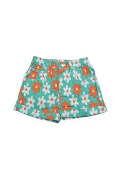 Green Flowers Shorts-Junior