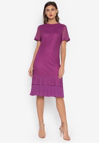 CIGNAL purple Lace Dress w/ Pleated Bottom 0841BAAD736E6FGS_1