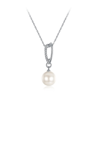 Glamorousky white Elegant Pearl Pendant with Austrian Element Crystal and Necklace 0BB3DAC6728F6BGS_1