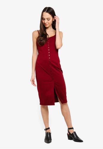 Something Borrowed red Button Trim Cami Midi Dress E1D01AA3A7DB6AGS_1