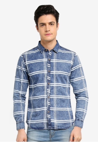 Fidelio blue Acid Washed Checkered Long Sleeves Shirt A0803AA0233BF9GS_1