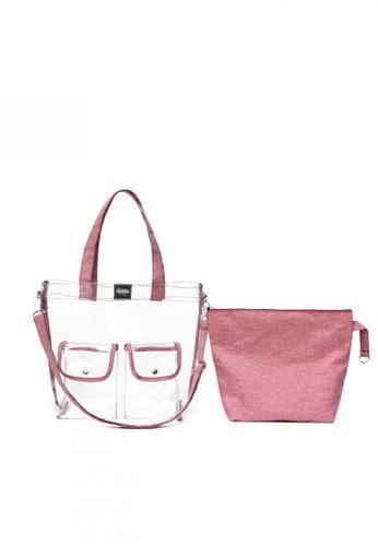 The Adventure pink Quarantote Transparent Bag E5912AC185E029GS_1