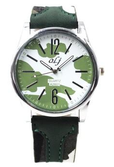 OLJ Alden Army Men's Leather Fabric Wrist Watch A2601