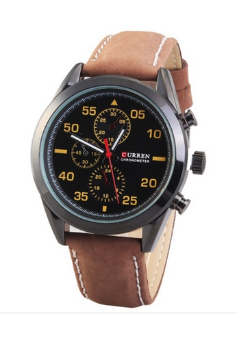 curren black and brown Curren 8156 Men's Sporty Leather Strap Watch (Black Brown) CU537AC30SYRMY_1