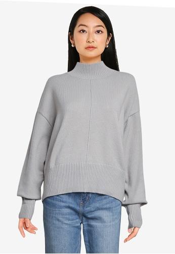 LOWRYS FARM grey High Neck Knit Sweater A696BAA8470007GS_1