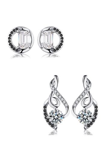 A-Excellence black Premium Elegant Black Silver Earring Set 42915AC6020BC7GS_1