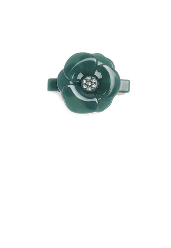 Glamorousky green Fashion and Elegant Dark Green Flower Small Hair Slide with Cubic Zirconia C0A17ACA2422CEGS_1