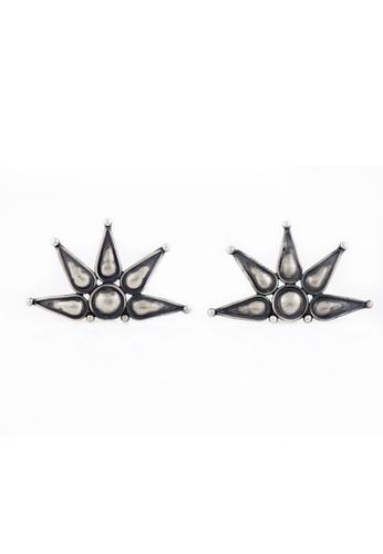 Aadyaa Singapore silver Five Petal Flower Earrings 28719ACFE90A45GS_1