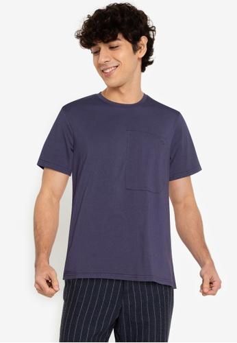ZALORA BASICS navy Welt Patch Pocket T-Shirt 9F42AAA0DE372EGS_1